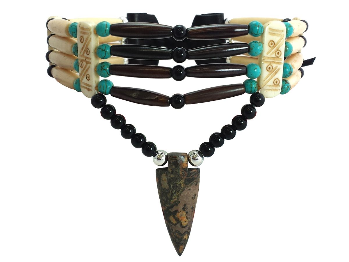 Handmade Traditional 4 Row Buffalo Bone Hairpipe Beads Tribal Choker Necklace