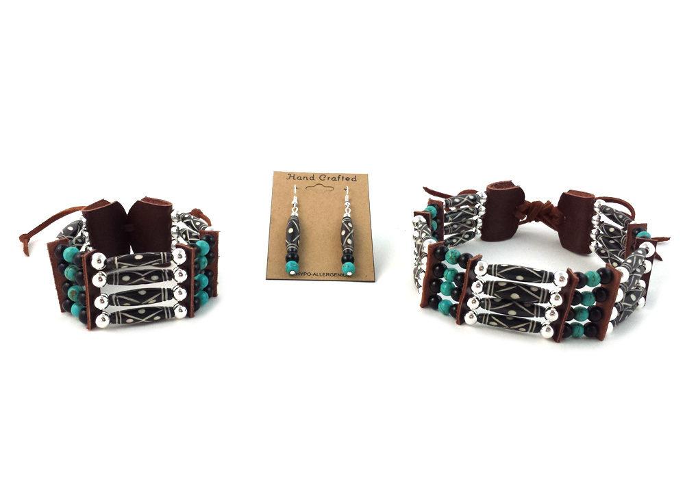and Earrings Set Handmade Traditional 4 Row Buffalo Bone Hairpipe Tribal Choker Necklace Bracelet